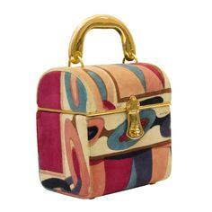 Emilio Pucci Pink and Purple Velvet Box Bag with Goldtone Handle - 2019 Pink Handbags, Prada Handbags, Handbags On Sale, Luxury Handbags, Designer Handbags, Suede Handbags, Large Handbags, Designer Bags, Tote Handbags