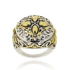Mondevio High-polish 18-karat Yellow Gold-overlay Round Filigree Brass Ring (BTR3612) Women's