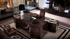 Luxurious office in lacquered wood Home Office, Office Desk, Vogue Home, Made Of Wood, Decoration, Luxury, Table, Furniture, Collection