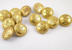 14 Antique military Canadian Brass Buttons - Canada and a Crown & Anchor design Navy Buttons - Wm Scully Montreal - collectable from 1940s