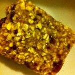 SUGAR- AND FAT-FREE FLAPJACK >> 400g oats;  2 handfuls dates, chopped very finely in a food processor with a splash of water; 2 large or 3 medium mashed bananas; 1 cup sultanas; Cinnamon >> Mix it all together, put into a greased and lined tray and bake at Gas Mark 5 for about 35-40 mins. Slice it up whilst it is warm and leave to cool (if it lasts that long!).