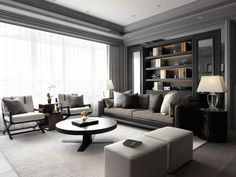 2. 50 Shades of Grey: The striking grey color palette of this next design had us thinking of the famous erotic novel. Like the title character, Christian Grey, this space feels sophisticated, steely and masculine, but with a softer side beneath. The old and the new, the classic and the modern, blend together seamlessly throughout the living room. For example, the TV is surrounded by an exquisite mantelpiece, making the art of enjoying a favorite show or movie feel even