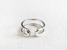 925 sterling silver Big safety pin ring - Adjustable Ring