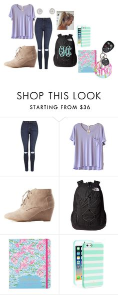 """""""School outfit"""" by chanel-xoxo123 on Polyvore featuring Topshop, Clu, Charlotte Russe, The North Face, WALL, Lilly Pulitzer, Kate Spade, preppy, monogram and Lillypulitzer"""