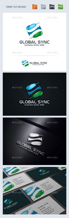 Buy Global Sync Logo Template by BeLoveArt on GraphicRiver. Global Sync Logo TemplateLogo is made with vectors for easy resizing and customizing – all texts can be rewritten eve. Logo Design Template, Logo Templates, Globus Logo, Arrow Logo, Abstract Logo, 3d Logo, Custom Fonts, Cool Logo, Slogan