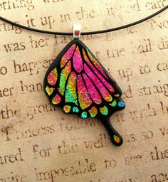 Swallowtail Butterfly Fused Glass Pendant Bright Pink Rainbow