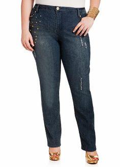 Ashley Stewart Women's Plus Size Studded Skinny Jeans Indigo 18