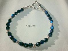 Bracelet Deep Blue with Silver by GagaGems on Etsy, $16.00