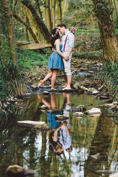 This spring engagement in the woods is an absolute fairy tale | Photo by Cornelia Lietz via http://junebugweddings.com/wedding-blog/springtime-engagement-woods/