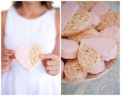 Heart shaped rice crispies treats dipped in pink frosting #TeaPartyBridalShower #BridalShower