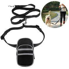 2018 FOXNOVO Hands Free Reflective Waist Pet Leash Adjustable Elastic Dog Leash with Bag Dispenser for Running Hiking Jogging Waking, Pet Rack Products.