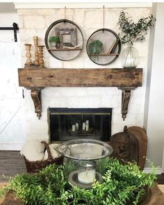 How gorgeous is this fireplace mantle and those corbels! Deborah Deborah /Hip & Humble Style has a beautiful home, y'all should definitely go… - Decor, House, Home, Fireplace Mantle Decor, Fireplace Design, Farmhouse Mantle, Farmhouse Fireplace, Fireplace, Fireplace Makeover