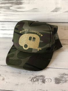 Items similar to Happy Camper Camo Sparkle Trucker Hat Cap on Etsy 6bd18ca11bbc