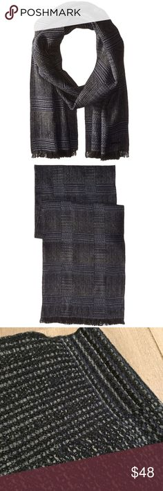 """NWT Calvin Klein Patchwork Scarf NWT Calvin Klein Patchwork Scarf Retailed for $55 but is sold out.  Versatile scarf in shades of black, navy, and gray. """"Work out an edgy ensemble with this Calvin Klein scarf! Wrap oblong scarf with patchwork pattern. Frayed edges. 100% acrylic. Spot clean.""""  12.75"""" wide, 74"""" long. Calvin Klein Accessories Scarves"""