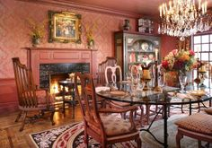 This dining room can be an intimate dinner for 2 by the fireplace or a large dinner party