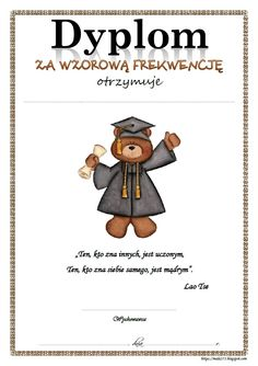 BLOG EDUKACYJNY DLA DZIECI: DYPLOM ZA WZOROWĄ FREKWENCJĘ 1 Logo, Kids Education, Origami, Teddy Bear, Creative, Early Education, Origami Paper, Teddy Bears, Origami Art
