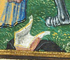 Detail of hood on the ground - Troilus from the British library Royal 18 D II f 87, 1500-1525