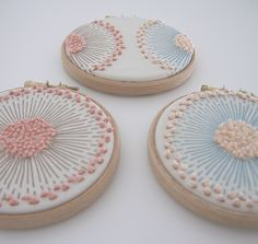 4 inch emb. hoops with french knot on printed fabric by Hand knitted things Julia Marsh