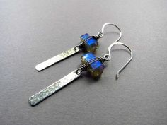 Dangle Earrings, Labradorite Earrings, Gift for Women, Gemstone Earrings, Long Earrings, Geometric Earrings, Wire Wrapped, Sterling Silver