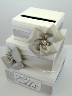 Wedding Card Box - but without the bows; just bands of ribbon.