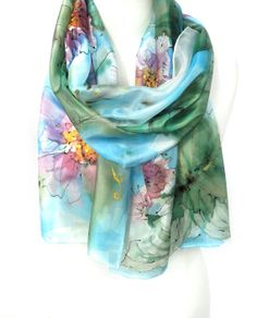 Floral Scarf. Hand Painted Scarf. Silk Scarf. Blue by TeresaMare, $42.00