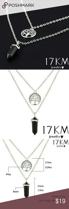 FASHION MULTI LAYER NECKLACE FASHION  MULTI LAYER NECKLACE  SILVER TONED  TREE OF LIFE/ BLACK NATURAL GEM STONE! Jewelry Necklaces