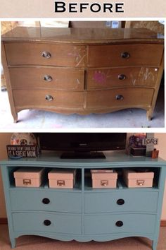 Old dresser upcycled into bright and fun TV stand.  I've previously posted an in progress collage - this is the finished product!