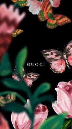 Gucci, Gucci art, painting, creative, beautiful, flowers, pink butterfly