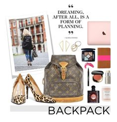 """Backpack"" by hellodollface ❤ liked on Polyvore featuring Louis Vuitton, Yves Saint Laurent, Christian Dior, Trish McEvoy, Dolce&Gabbana, Charlotte Chesnais, Clare V., Ilia, Diane Von Furstenberg and backpack"