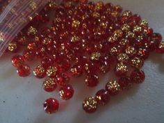 New Rare Red Round Shape Gold Floral Flower by erikasetsyshop, $7.75