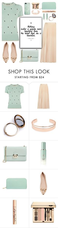 """Mint + Beige"" by glamorous09 ❤ liked on Polyvore featuring Oasis, Alice + Olivia, Odeme, Leith, Ted Baker, Tatcha, Aspinal of London, Kate Spade, Charlotte Tilbury and Clarins"