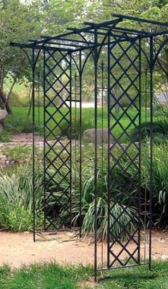 wrought iron arbor made from trellis