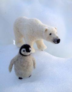 polar bear &  baby penguin
