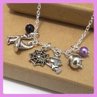 Halloween Necklace, Halloween Trinket Necklace, Witch Necklace, Halloween Jewellery, Halloween Charm Necklace, Witch's Hat, Spider, Cat