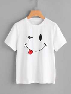 Smiley Face T-shirt, This t-shirt is Made To Order, one by one printed so we can control the quality. Smiley Face T-shirt, This t-shirt is Made To Order, one by one printed so we can control the quality. Shirt Print Design, Tee Shirt Designs, Kohl Steaks, T Shirt Painting, Fabric Paint Shirt, Cooler Painting, Cute Shirts, Cool Tees, Printed Tees