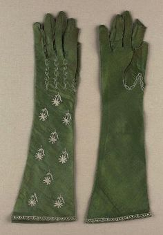 Pair of women's gloves. French, early 19th century. Silk satin with silk embroidery and tambour-work - in the Museum of Fine Arts Boston costume collection