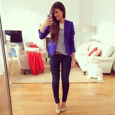 Love me a blazer with a stripped tee