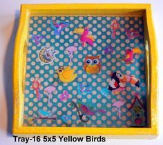 wood tray with a bird theme sealed in resin. Great for kids! Bird Theme, Wood Tray, Trays, Handcrafted Jewelry, Plastic Cutting Board, Magnets, Polymer Clay, Resin, Kids