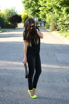 all black with a pop of neon
