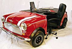 Mini Morris Office Tables I learned how to drive a shift on a Morris, back in the day. Car Furniture, Unusual Furniture, Office Furniture Design, Automotive Furniture, Funky Furniture, Furniture Making, Furniture Plans, Furniture Cleaning, Automotive Decor