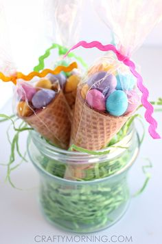 Edible Easter Egg Cone Treats - easy and quick Easter treat idea!