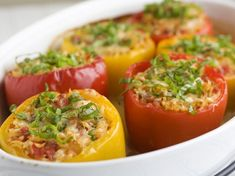 Orzo-stuffed Peppers - very good, I added sausage and used red and green peppers. Cooking the orzo in chicken stock is key! Add in some garlic while boiling for more flavor! I Love Food, Good Food, Yummy Food, Tasty, Vegetarian Recipes, Cooking Recipes, Healthy Recipes, Cooking Tips, Fat Burning Foods