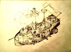 """A flying gunship (or gunboat) type for the """"Sails in the sky"""" project."""