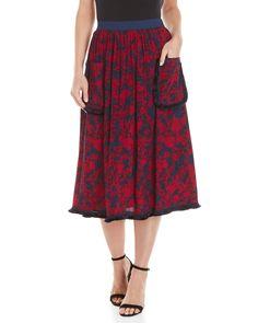 43d490b050da Cm.100 Printed Fringe Pocket Midi Skirt Midi Skirts