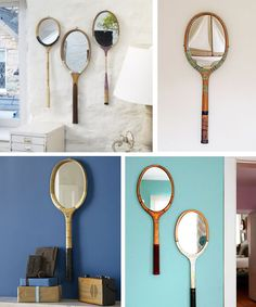 I don't know if I will ever have a room where a tennis racket mirror would fit, but I thought these were still pretty neat Diy Dream Home, Diy Home Accessories, Diy Box, Retro Design, Decoration, Fun Crafts, Sweet Home, Diy Projects, Crafty