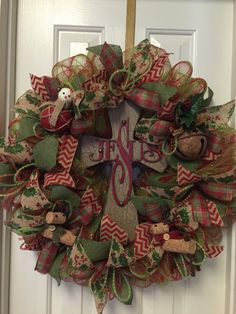 A personal favorite from my Etsy shop https://www.etsy.com/listing/255380860/deco-mesh-christmas-wreath-jesus-cross