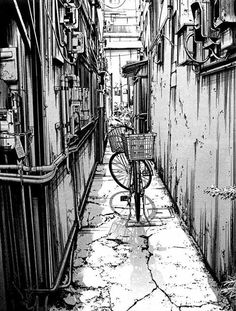 Ink Drawing Kiyohiko Azuma Urban Sketches - Manga author Kiyohiko Azuma also creates beautiful black and white architectural drawings that show incredible detail. See more of his urban sketches. Illustration Sketches, Drawing Sketches, Art Drawings, Drawing Ideas, Cityscape Drawing, Painting & Drawing, City Drawing, Architecture Sketches, Urban Architecture