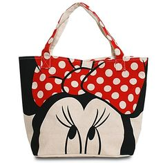 Disney Canvas Minnie Mouse Tote by Loungefly with Zipper NEW Large