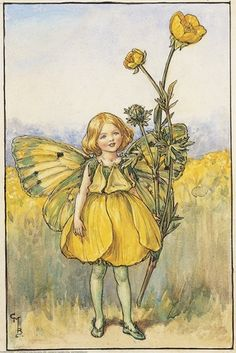 Illustration for the Buttercup Fairy from Flower Fairies of the Summer.  A girl dressed as a fairy in a yellow outfit stands, a buttercup plant in her left hand.  										   																										Author / Illustrator  								Cicely Mary Barker