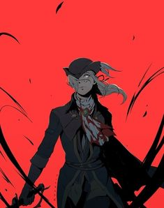 blood bloodborne closed_mouth crazy_eyes gloves hair_over_one_eye hat highres koyorin lady_maria_of_the_astral_clocktower lips long_hair looking_at_viewer ponytail red_background solo sword tricorne weapon white_hair wind Sif Dark Souls, Arte Dark Souls, Bloodborne Maria, Lady Maria, Fantasy Characters, Anime Characters, Fictional Characters, Dark Fantasy, Fantasy Art